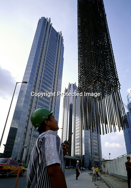 A construction site on February 26, 1998 in central Jakarta, Indonesia. These building are built in the financial district. Indonesia was hit by economic turmoil during the emerging market crisis of 1998, and the currency, the rupiah, lost a lot of its value.  .(Photo: Per-Anders Pettersson/ Liaison Agency)