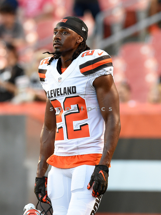 CLEVELAND, OH - AUGUST 18, 2016: Defensive back Tramon Williams #22 of the Cleveland Browns stands on the field prior to a preseason game on August 18, 2016 against the Atlanta Falcons at FirstEnergy Stadium in Cleveland, Ohio. Atlanta won 24-13. (Photo by: 2016 Nick Cammett/Diamond Images) *** Local Caption *** Tramon Williams