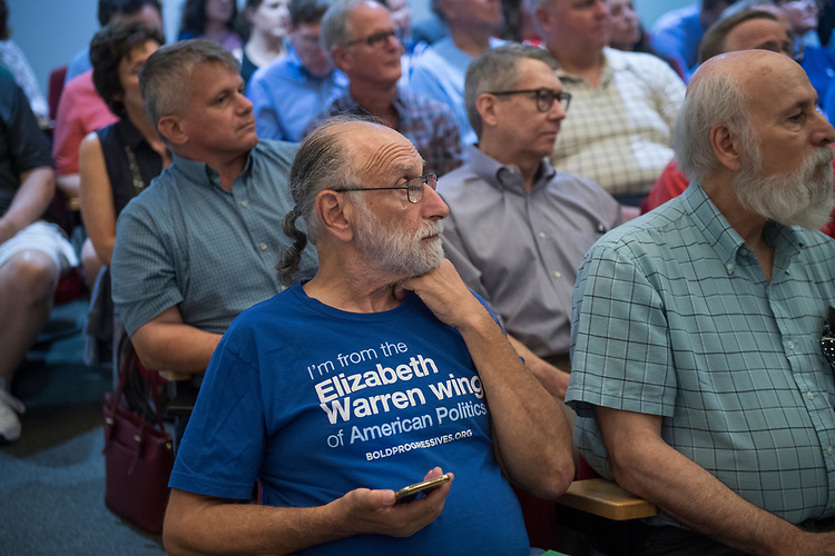 UNITED STATES - AUGUST 22: Guests listen to Rep. Brian Fitzpatrick, R-Pa., during a town hall meeting in Bensalem, Pa., on August 22, 2017. (Photo By Tom Williams/CQ Roll Call)