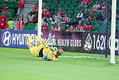 November 4th 2017, nib Stadium, Perth, Australia; A-League football, Perth Glory versus Adelaide United; Paul Izzo from Adelaide United defends the penalty shot taken by Perth Glorys Diego Castro