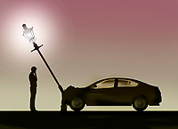 Man looking at car accident and bent lamp post