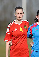 20150307 - TUBIZE , BELGIUM : Belgian Bieke Vandenbussche pictured during the friendly female soccer match between Women under 19 teams of  Belgium and Czech Republic . Saturday 7th March 2015 . PHOTO DAVID CATRY