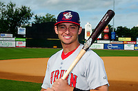 Auburn Doubledays outfielder Rhett Wiseman (2) poses for a photo prior to a game versus the Lowell Spinners at Lelacheur Park on July 25, 2015 in Lowell, Massachusetts. (Ken Babbitt/Four Seam Images)