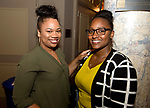 WATERBURY,  CT-062318JS24--Saneisha Banton of Hamden and Candice Williams, also of Hamden, at the &quot;Jazz and Jeans&quot; wine tasting hosted by the Waterbury Chapter of The Links at the Palace Theater in Waterbury. <br />  Jim Shannon Republican American