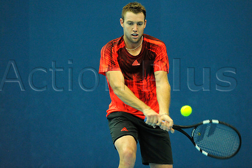 28.10.2015. Basel, Switzerland. Basel Swiss Indoor Tennis Championships. Day Four. Jack Sock in action in the match between Jack Sock of the United States of America and Denis Kudla of the United States of America