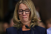 WASHINGTON, DC - SEPTEMBER 27:  Christine Blasey Ford testifies before the Senate Judiciary Committee in the Dirksen Senate Office Building on Capitol Hill September 27, 2018 in Washington, DC. A professor at Palo Alto University and a research psychologist at the Stanford University School of Medicine, Ford has accused Supreme Court nominee Judge Brett Kavanaugh of sexually assaulting her during a party in 1982 when they were high school students in suburban Maryland.  (Photo by Win McNamee/Getty Images)