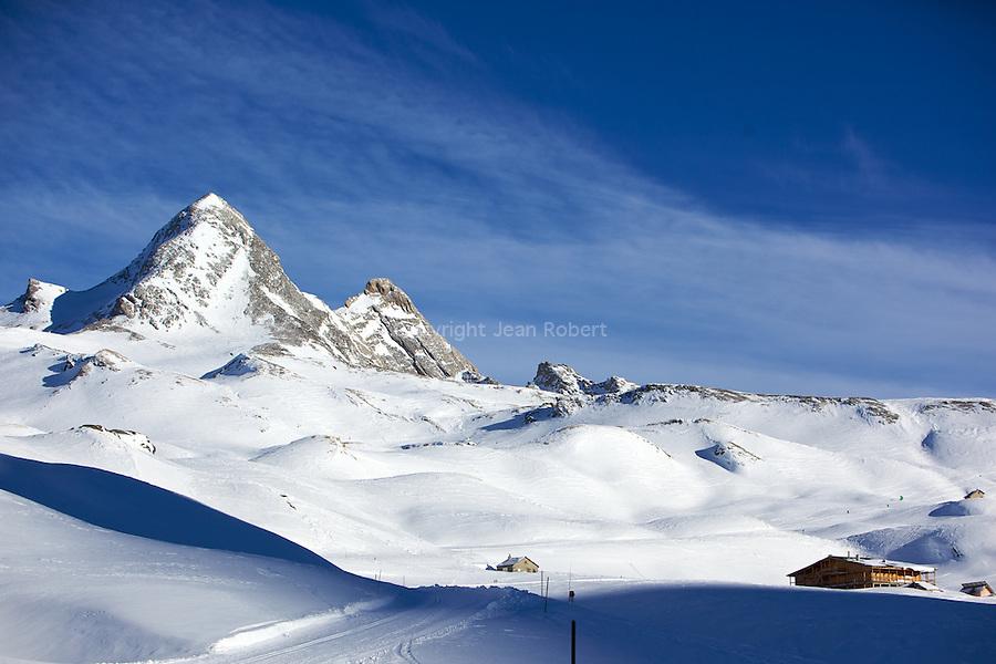 Kyte ski au pied du Col Agnel devant le Pain de Sucre