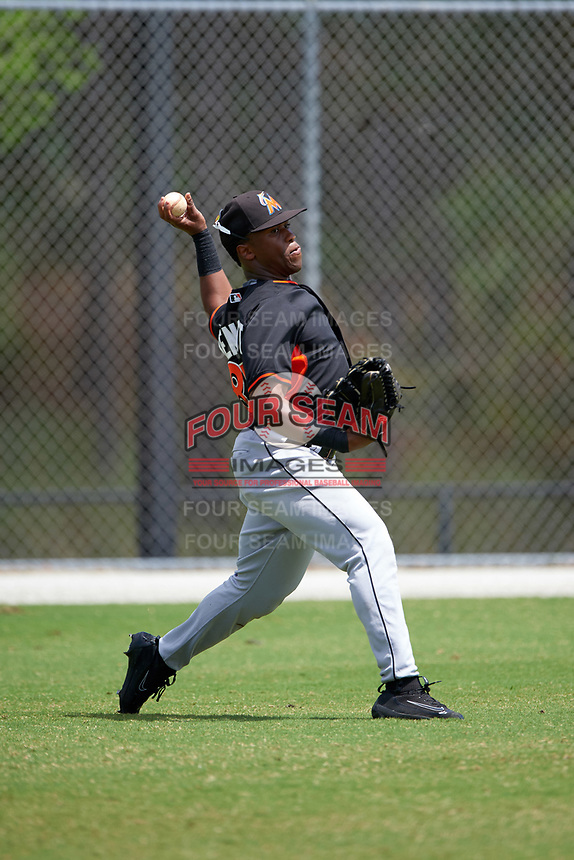Miami Marlins Terry Bennett (87) during practice before a minor league Spring Training intrasquad game on March 31, 2016 at Roger Dean Sports Complex in Jupiter, Florida.  (Mike Janes/Four Seam Images)