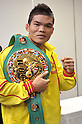 Suriyan Sor Rungvisai (THA),.MARCH 26, 2012 - Boxing :.Suriyan Sor Rungvisai of Thailand poses with his champion belt during the official weigh-in for the WBC super flyweight title bout at Korakuen Hall in Tokyo, Japan. (Photo by Hiroaki Yamaguchi/AFLO)