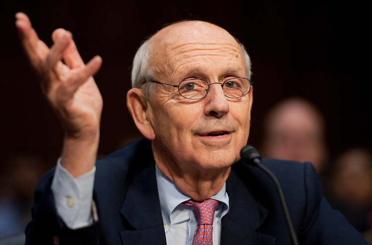 """UNITED STATES - OCTOBER 05:  Supreme Court Justice Stephen Breyer, testifies before a Senate Judiciary Committee hearing in Hart Building entitled """"Considering the Role of Judges Under the Constitution of the United States.""""  Justice Antonin Scalia also testified. (Photo By Tom Williams/Roll Call)"""