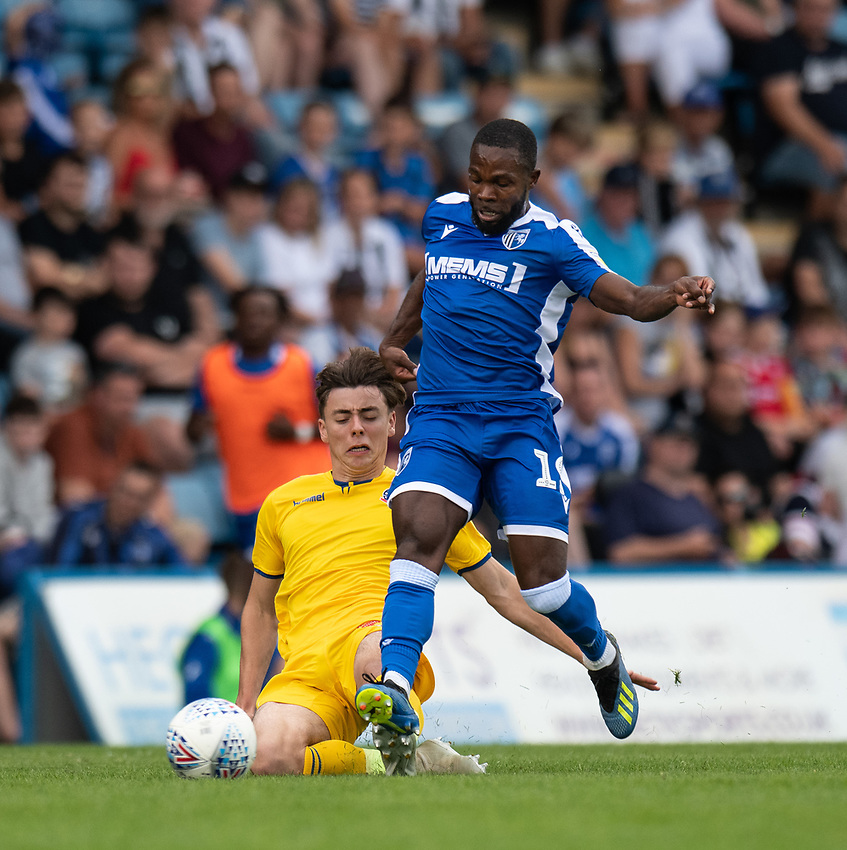 Gillingham's Mark Marshall (right) is tackled by Bolton Wanderers' Callum King-Harmes (left) <br /> <br /> Photographer David Horton/CameraSport<br /> <br /> The EFL Sky Bet League One - Gillingham v Bolton Wanderers - Saturday 31st August 2019 - Priestfield Stadium - Gillingham<br /> <br /> World Copyright © 2019 CameraSport. All rights reserved. 43 Linden Ave. Countesthorpe. Leicester. England. LE8 5PG - Tel: +44 (0) 116 277 4147 - admin@camerasport.com - www.camerasport.com