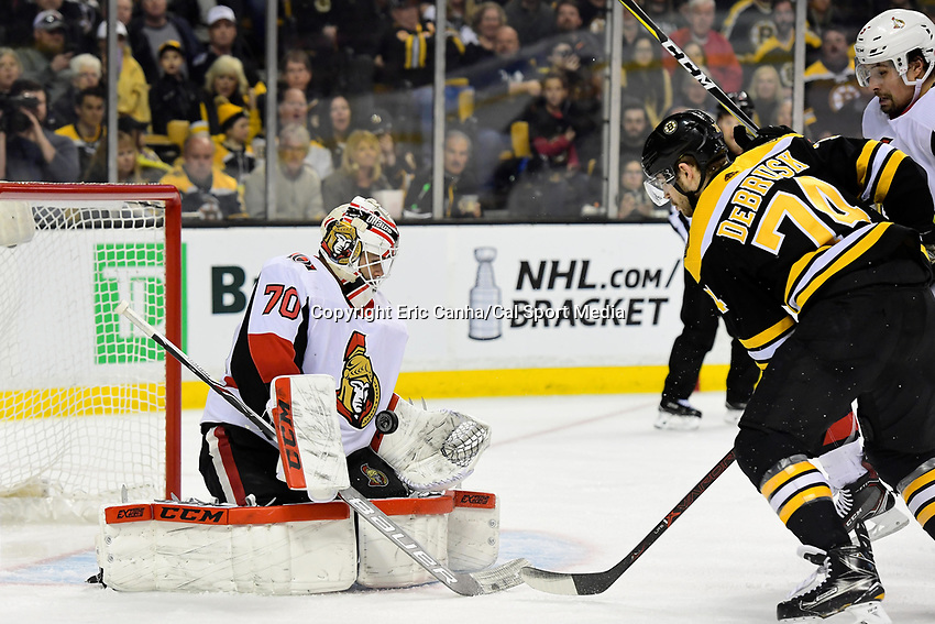 April 7, 2018: Ottawa Senators goaltender Daniel Taylor (70) makes a save during the NHL game between the Ottawa Senators  and the Boston Bruins held at TD Garden, in Boston, Mass. Boston defeats Ottawa 5-2 Eric Canha/CSM