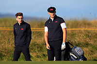 Conor Gough (GB&I) and Harry Hall (GB&I) on the 3rd during Day 2 Foursomes of the Walker Cup, Royal Liverpool Golf CLub, Hoylake, Cheshire, England. 08/09/2019.<br /> Picture Thos Caffrey / Golffile.ie<br /> <br /> All photo usage must carry mandatory copyright credit (© Golffile | Thos Caffrey)