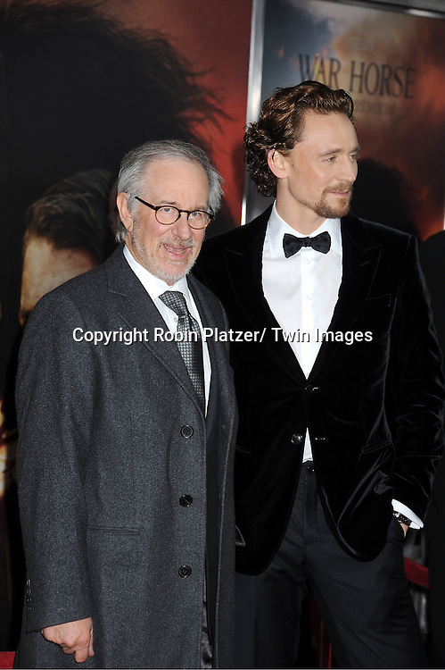 "Steven Spielberg and Tom Hiddleston attends the world premiere of ""War Horse"" on December 4, 2011 at Avery Fisher Hall in New York City."