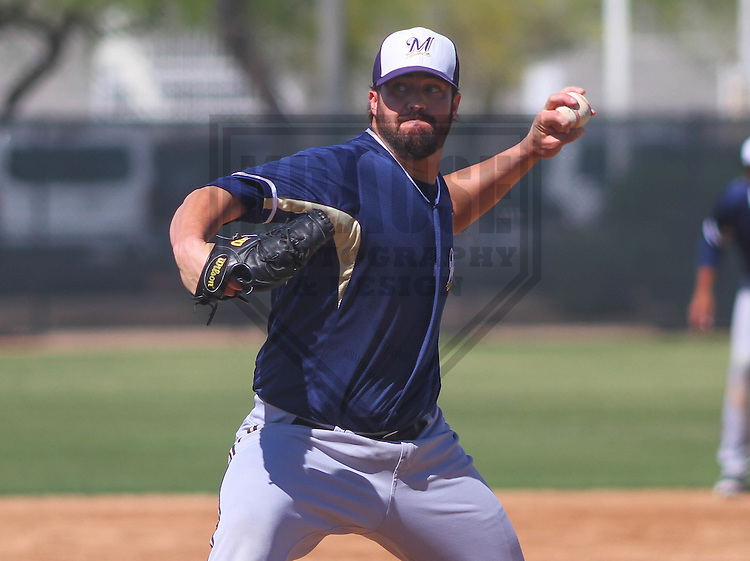 MARYVALE - March 2015:  of the Milwaukee Brewers during a spring training game against the Los Angeles Dodgers on March 24th, 2015 at Maryvale Baseball Park in Maryvale, Arizona. (Photo Credit: Brad Krause)