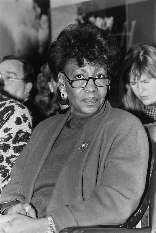 Rep. Maxine Waters, D-Calif., on Feb. 21, 1990. (Photo by Maureen Keating/CQ Roll Call)