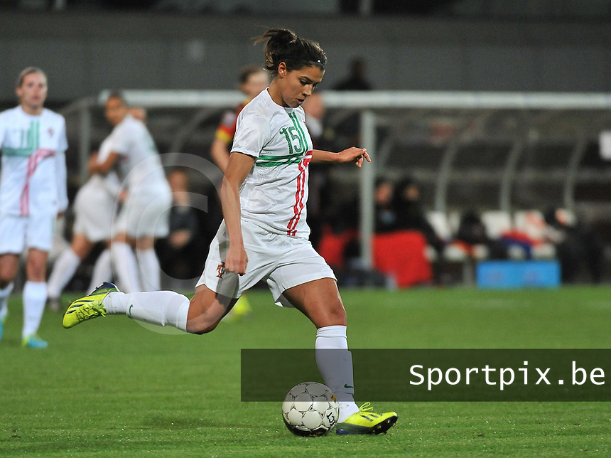 20131031 - ANTWERPEN , BELGIUM : Portugese Carole Costa pictured during the female soccer match between Belgium and Portugal , on the fourth matchday in group 5 of the UEFA qualifying round to the FIFA Women World Cup in Canada 2015 at Het Kiel stadium , Antwerp . Thursday 31st October 2013. PHOTO DAVID CATRY