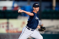Lakeland Flying Tigers relief pitcher Drew Carlton (46) delivers a pitch during the first game of a doubleheader against the Bradenton Marauders on April 11, 2018 at Publix Field at Joker Marchant Stadium in Lakeland, Florida.  Lakeland defeated Bradenton 5-4.  (Mike Janes/Four Seam Images)