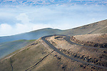 Idaho, North, Lewiston. The old Spiral Highway or Lewiston Grade above the Lewis Clark Valley on a foggy morning.