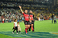 Matt Giteau and Guilhem Guirado of Toulon celebrates winning during the Top 14 semi final match between La Rochelle and Rc Toulon at Orange Velodrome on May 26, 2017 in Marseille, France. (Photo by Alexandre Dimou/Icon Sport)