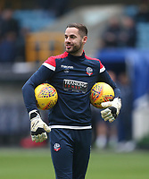 Bolton Wanderers' Remi Matthews during the warm-up prior to kick-off<br /> <br /> Photographer Rob Newell/CameraSport<br /> <br /> The EFL Sky Bet Championship - Millwall v Bolton Wanderers - Saturday 24th November 2018 - The Den - London<br /> <br /> World Copyright &copy; 2018 CameraSport. All rights reserved. 43 Linden Ave. Countesthorpe. Leicester. England. LE8 5PG - Tel: +44 (0) 116 277 4147 - admin@camerasport.com - www.camerasport.com