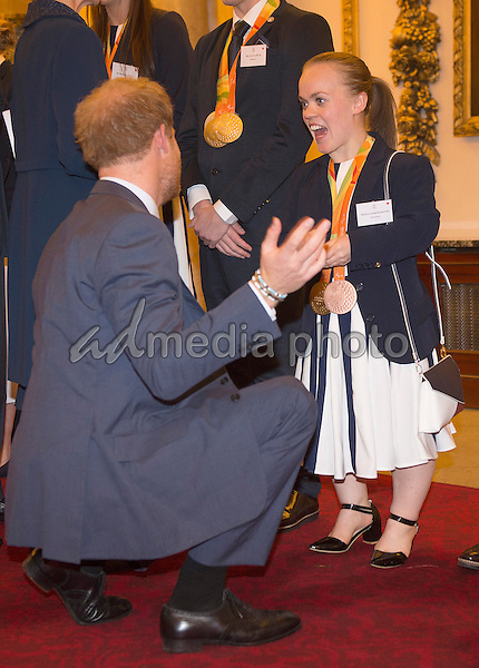 18 October 2016 - London, England - Prince Harry chats to Eleanor Ellie Simmonds at a reception for Team GB and ParalympicsGB medallists from the 2016 Rio Olympic and Paralympic Games Buckingham Palace London. Photo Credit: Alpha Press/AdMedia
