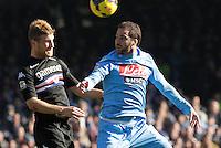 Gonzalo Higuain durante l'incontro di calcio di Serie A  Napoli Sampdoria allo  Stadio San Paolo  di Napoli , 6 gennaio 2014