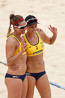 April Ross, left, and Jennifer Kessy, of the United States, celebrate after defeating Italy's team at the Beach Volleyball World Tour Grand Slam, Foro Italico, Rome, 22 June 2013. United States defeated Italy 2-0.<br /> UPDATE IMAGES PRESS/Isabella Bonotto