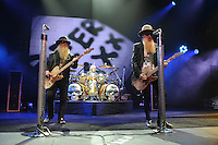 HOLLYWOOD FL - JUNE 12: (L-R) Dusty Hill, Frank Beard and Billy Gibbons of ZZ Top perform at  Hard Rock Live held at the Seminole Hard Rock Hotel & Casino on June 12, 2012 in Hollywood, Florida. © mpi04/MediaPunch Inc NORTEPHOTO.COM<br />