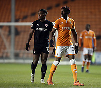 Blackpool's Armand Gnanduillet (right) and Barnsley's Dimitri Cavare<br /> <br /> Photographer Rich Linley/CameraSport<br /> <br /> The EFL Sky Bet League One - Blackpool v Barnsley - Saturday 22nd December 2018 - Bloomfield Road - Blackpool<br /> <br /> World Copyright &copy; 2018 CameraSport. All rights reserved. 43 Linden Ave. Countesthorpe. Leicester. England. LE8 5PG - Tel: +44 (0) 116 277 4147 - admin@camerasport.com - www.camerasport.com