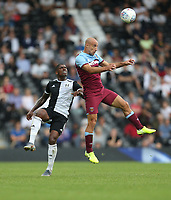 West Ham United's Pablo Zabaleta and Fulham's Floyd Ayite<br /> <br /> Photographer Rob Newell/CameraSport<br /> <br /> Football Pre-Season Friendly - Fulham v West Ham United - Saturday July 27th 2019 - Craven Cottage - London<br /> <br /> World Copyright © 2019 CameraSport. All rights reserved. 43 Linden Ave. Countesthorpe. Leicester. England. LE8 5PG - Tel: +44 (0) 116 277 4147 - admin@camerasport.com - www.camerasport.com