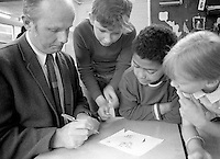 John Holt, American educationalist, visiting Julian's Primary School, Streatham, London.  1971.