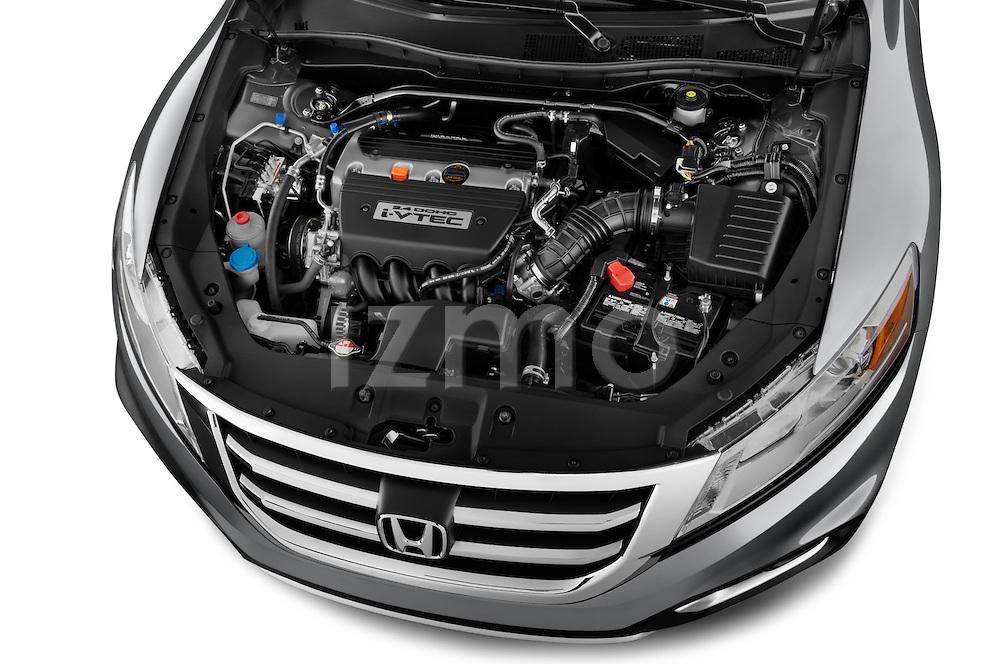 Car Stock 2015 Honda Crosstour EX 4 Door Hatchback Engine high angle detail view
