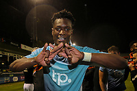 Armand Gnanduillet of Blackpool celebrates victory after the Sky Bet League 2 Play Off Semi Final 2 leg match between Luton Town and Blackpool at Kenilworth Road, Luton, England on 18 May 2017. Photo by David Horn.