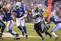 Jacksonville Jaguars linebacker Myles Jack (44) sacks Indianapolis Colts quarterback Jacoby Brissett (7) in a NFL game Sunday, October 22, 2017 in Indianapolis, IN.  (Rick Wilson/Jacksonville Jaguars)