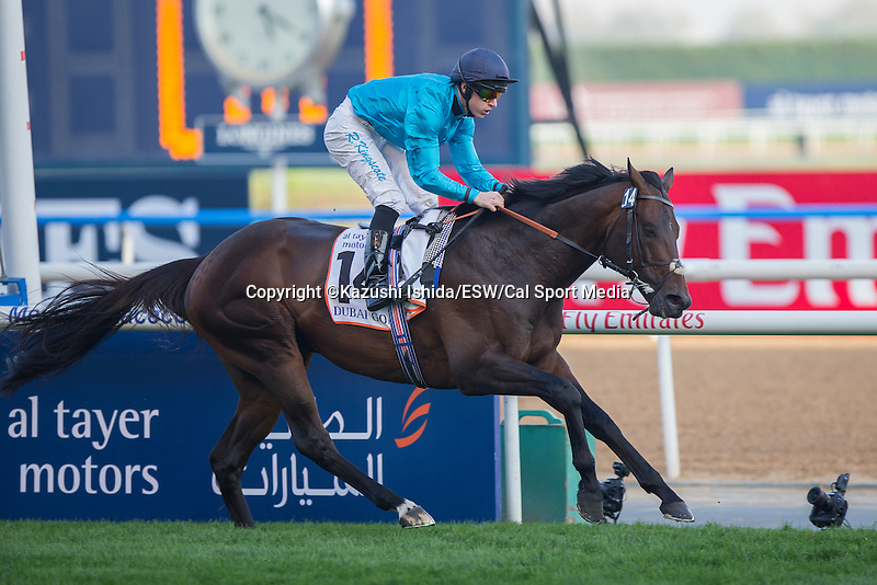 MAR 28,2015:Brown Panther,ridden by Richard Kingstone,wins the Dubai Gold Cup at Meydan in Dubai,UAE. Kazushi Ishida/ESW/CSM