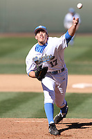 Dennis Holt #17 of the UCLA Bruins pitches against the San Jose State Spartans at Jackie Robinson Stadium in Los Angeles,California on February 27, 2011. Photo by Larry Goren/Four Seam Images
