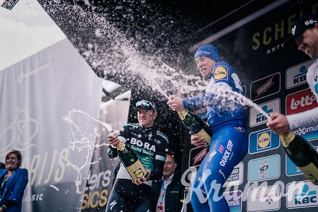 Fabio Jakobsen (NED/Quick-Step Floors) wins the Scheldeprijs as a neo-pro & that's a good reason to spill some champagne<br /> <br /> 106th Scheldeprijs 2018 (1.HC)<br /> 1 Day Race: Terneuzen (NED) - Schoten (BEL)(200km)