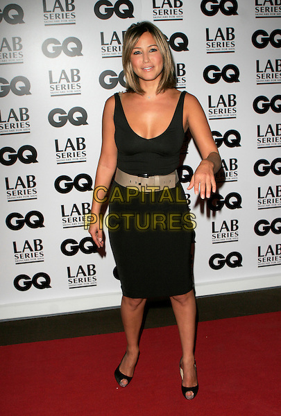 RACHEL STEVENS.Attending the 10th Anniversary GQ men Of The Year Awards, Royal Opera House, Covent Garden, London, England, September 4th 2007..magazine full length black dress beige cream belt waist peep-toe shoes platforms Christian Louboutin hand waving funny.CAP/AH.©Adam Houghton/Capital Pictures.