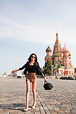 RUSSIA, Moscow. Model Gene Saratovskaya in front of the St. Basil's Cathedral in the Red Square.