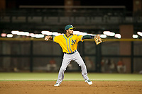 AZL Athletics shortstop Yerdel Vargas (5) warms up between innings during a game against the AZL Giants on August 5, 2017 at Scottsdale Stadium in Scottsdale, Arizona. AZL Athletics defeated the AZL Giants 2-1. (Zachary Lucy/Four Seam Images)