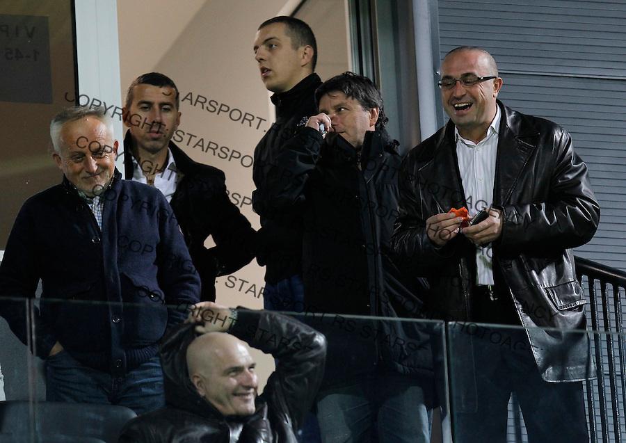 Fudbal Super liga season 2013-2014<br /> Cukaricki v Crvena Zvezda<br /> Bojan Radovanovic (R) vlasnik FK BASK Predrag Ocokoljic (L)<br /> Beograd, 06.10.2013.<br /> foto: Srdjan Stevanovic/Starsportphoto &copy;