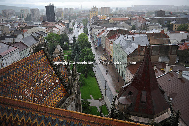 A view from the stairwell of the bell tower at St. Elizabeth's Cathedral in the rain is seen in Kosice, Slovakia on May 31, 2010.  St. Elizabeth's, a gothic cathedral, is Slovakia biggest church.
