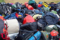 Loads of backpacks and bags loaded off the buses when IST:s are arriving. Photo: Kim Rask/Scouterna