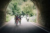 today's breakaway group:<br /> Jasper De Laat (BEL/Wanty-Groupe Gobert), Gordon De Winter (BEL/AGO-Aqua Service), Tom Dernies (BEL/Roubaix-Lille M&eacute;tropole), Ivo Oliveira (POR/Hagens Berman Axeon) and Julien Mortier (BEL/WB-Aqua Protect-Veranclassic)<br /> <br /> 59th Grand Prix de Wallonie 2018 <br /> 1 Day Race from Blegny to Citadelle de Namur (BEL / 206km)