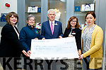 L-R Michelle King, Rose Hotel, Breda Dyland, Cork/Kerry Cancer Support, Mark Sullivan, Rose Hotel Manager, Aisling Foley, Rose Hotel and Trish Kelly, Cork/Kerry support group accepting a cheque for 6000 euro last Wednesday February 13th, from the hotel, who organised an 80's style night in the hotel on January 25th last.
