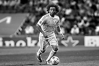 Marcelo of Real Madrid during the Champions League group B soccer match between Real Madrid and FC Basel 1893 at Santiago Bernabeu Stadium in Madrid, Spain. September 16, 2014. (ALTERPHOTOS/Caro Marin)(EDITORS NOTE: This image has been converted to black and white)