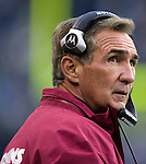 Washington Redskins head coach Mike Shanahan watches action on the field during the third quarter against Seattle Seahawks at  CenturyLink Field in Seattle, Washington on November 27, 2011. Redskins stunned the Seattle Seahawks 23-17. ©2011 Jim Bryant Photo. All Rights Reserved.