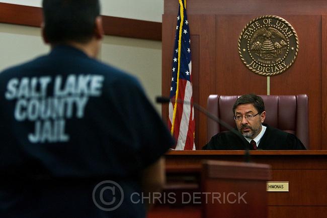 Chris Detrick  |  The Salt Lake Tribune .Judge Deno Himonas presides over drug court at the Matheson Courthouse Thursday October 21, 2010.