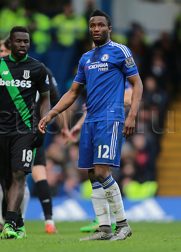 05.03.2016. Stamford Bridge, London, England. Barclays Premier League. Chelsea versus Stoke City. Chelsea Midfielder Mikel John Obi prepares for a Chelsea corner